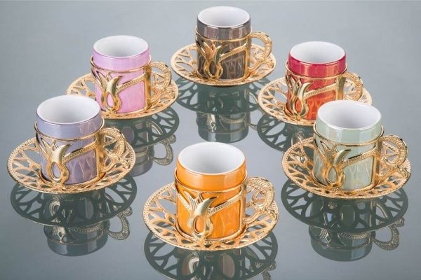 Colorful Tulip Design Gold Color Cups For Six Person