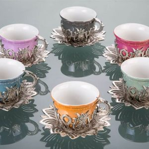 Colorful Tulip Design Silver Color Cups For Six