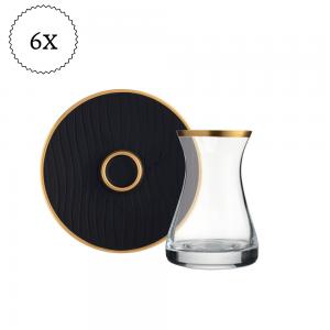 Marina Original Crystal Black Color Luxury Tea Set