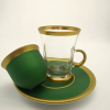 18 Pcs Natural Painted Green Color Tea Set With Coffee Cups