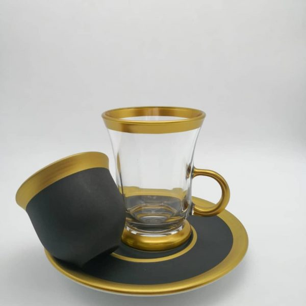 18 Pcs Natural Painted Black Color Tea Set With Coffee Cups