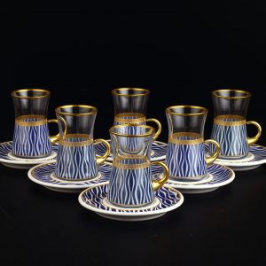 Blue Waves Arabic Tea Set With Holder