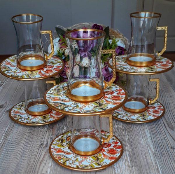 12 Pcs Thin Waist Forest Turkish Tea Set With Holder