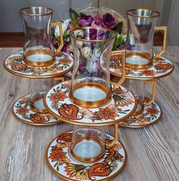 12 Pcs Thin Waist Leaves Turkish Tea Set With Holder