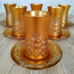 12 Pcs Gold Color Cutting Thin Waist Turkish Tea Set