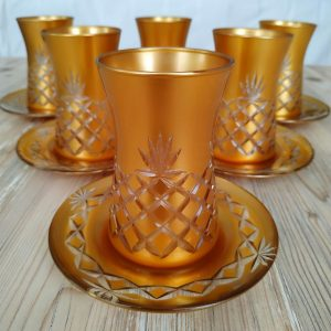 12 Pcs Gold Color Cutting Thin Waist Turkish Tea Set