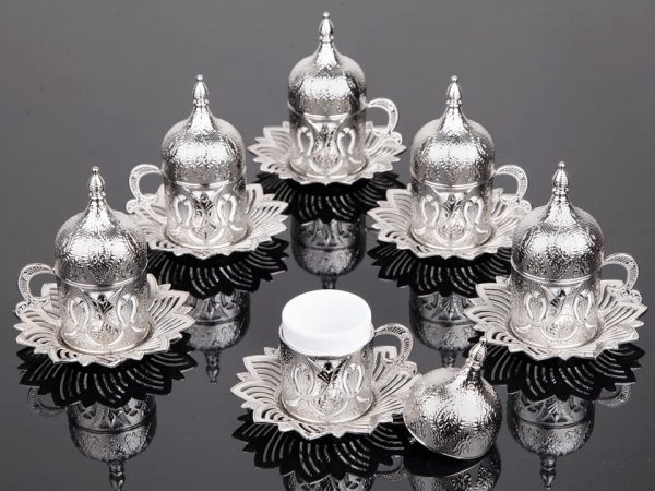 Silver Color Coffee Cups Tulip Design Six Pieces