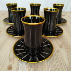 Black Color Cutting Tea Set For 6 Person
