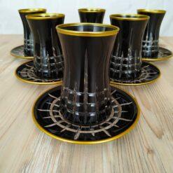 12 Pcs Black Color Cutting Turkish Tea Set