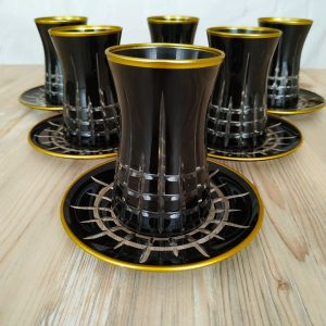 12 Pcs Black Color Cutting Turkish Tea Set