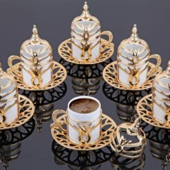 Silver Turkish Coffee Cups Tulip Design Six Pieces