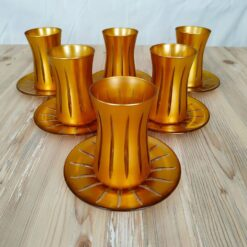 Gold Color Cutting Tea Set For 6 Person