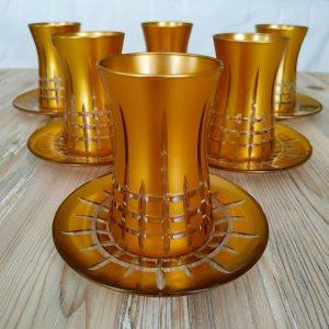 12 Pcs Gold Color Cutting Turkish Tea Set