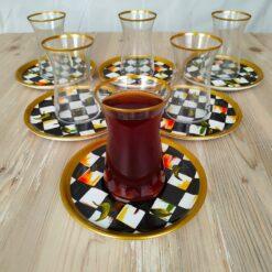 Bigatti 12 Pcs Thin Waist Check Pattern Tea Set