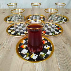 Bigatti 12 Pcs Thin Waist Check Pattern Tea Set