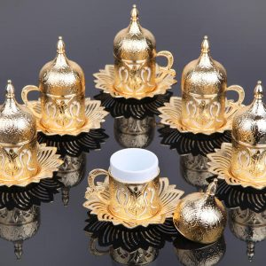 Gold Color Coffee Cups Tulip Design Six Pieces