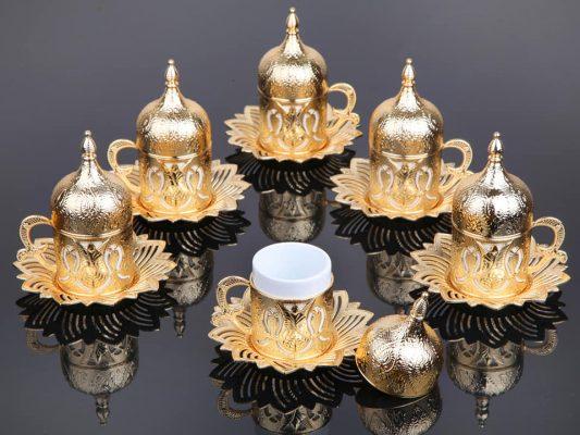 Gold Color Coffee Cups Tulip Design Six Pieces
