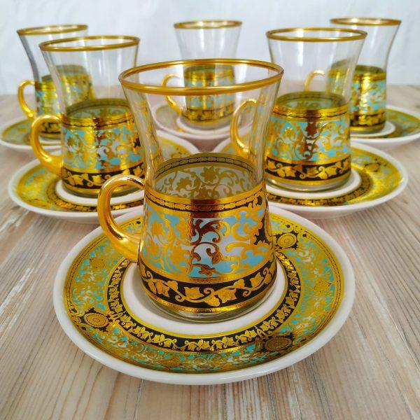 Ferhunde Gold Color Arabic Tea Set With Holder