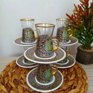 12 Pcs Vav Pattern Gold Color Turkish Tea Set With Holder