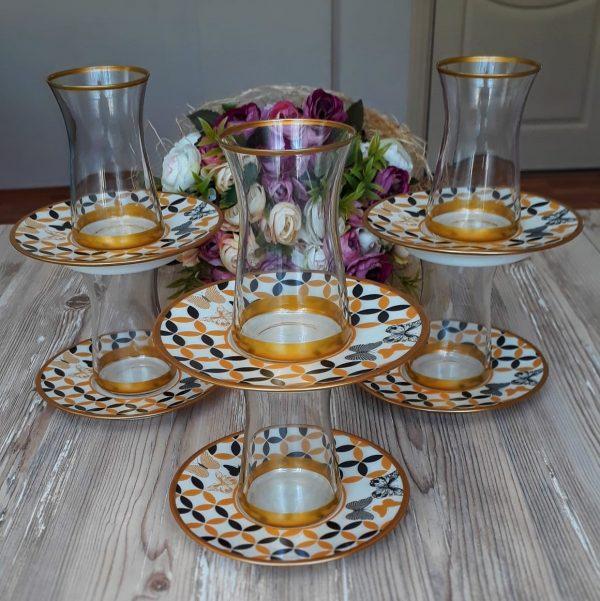 12 Pcs Thin Waist Butterfly Turkish Tea Set