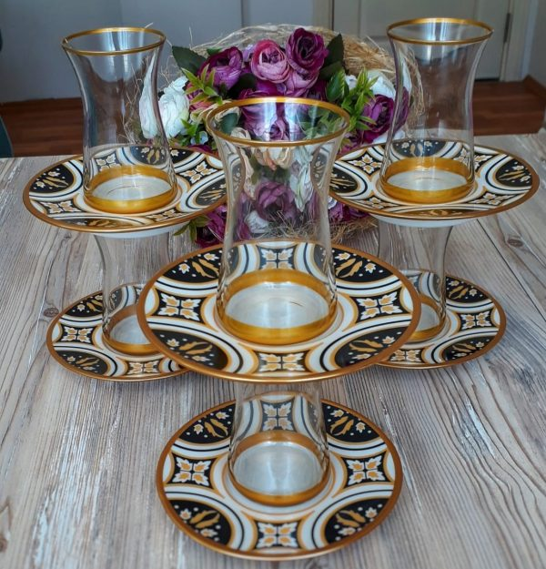 12 Pcs Thin Waist Sille Turkish Tea Set