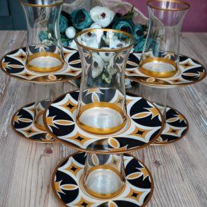 12 Pcs Thin Waist Yakamoz Turkish Tea Set