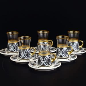 Lima White Turkish Tea Set With Holder