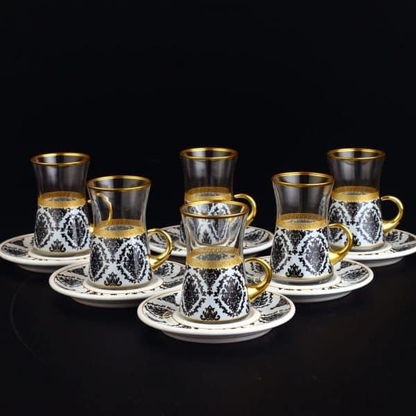 Lima White Turkish Tea Set With Holder