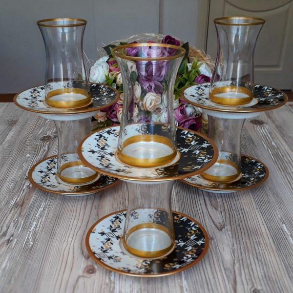 12 Pcs Thin Waist Garden Turkish Tea Set