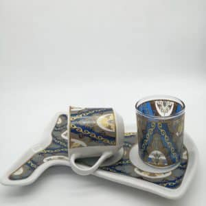 Blue Waves Caftan Design Coffee Set For One Person