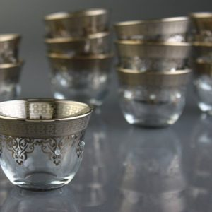 White Gold Plated Glass Arabic Coffee-Mirra Cups For Six Person