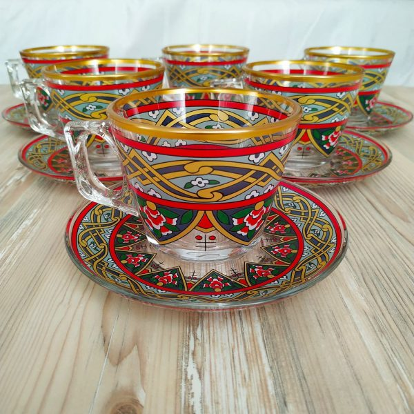 Oscar Red Color Coffee Mugs-Tea Glasses For Six Person