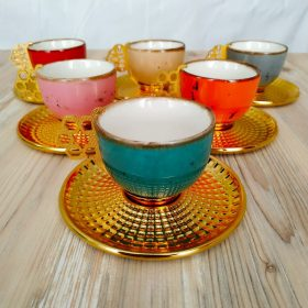 Colorful Tulip Design Gold Color Coffee Set