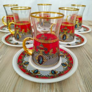 Mirage Red Color Arabic Tea Set With Holder