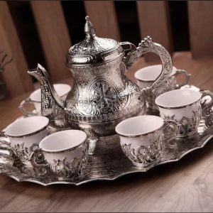 Tulip Design Silver Color Coffee Set With Pot