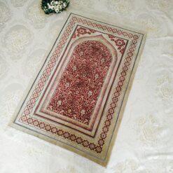 Cream Color Velvet Muslim Prayer Mat Sajjadah