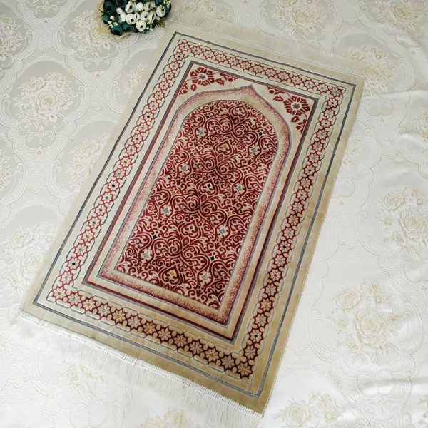 Cream Color Velvet Muslim Prayer Mat Sajjadah