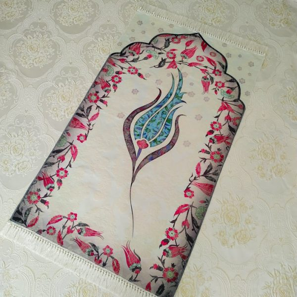 Luxury Turquoise Color Tulip Design Embroidered Prayer Mat