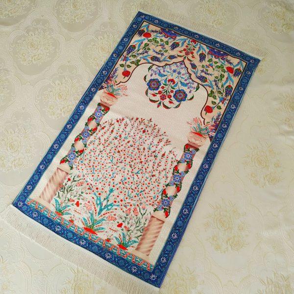 Blue Color Luxury Soft Plush Prayer Mat