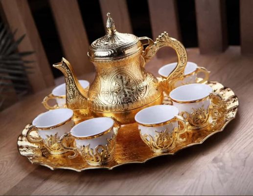 Tulip Design Gold Color Coffee Set With Pot