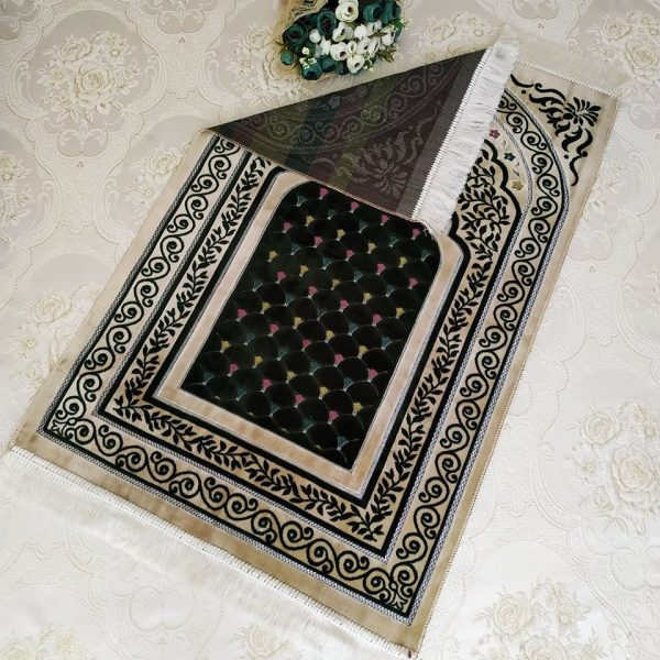 Cream - Green Color Velvet Muslim Turkish Prayer Mat