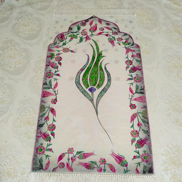 Luxury Green Color Tulip Design Embroidered Prayer Mat