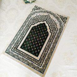 Cream - Green Color Velvet Muslim Turkish Prayer Mat