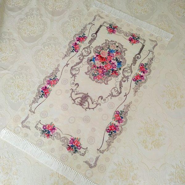 Ahsen Luxury Floral Design Soft Plush Prayer Mat