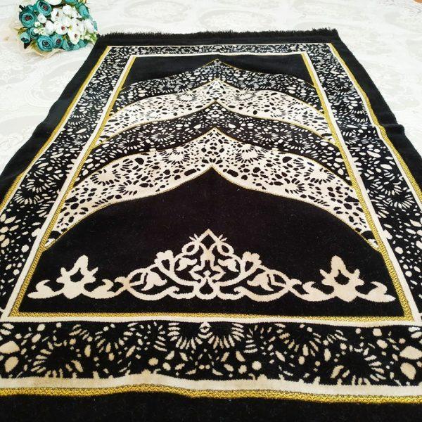 Black Color Velvet Muslim Turkish Prayer Mat Sajjadah