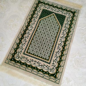 Cream - Green Color Velvet Muslim Prayer Rug