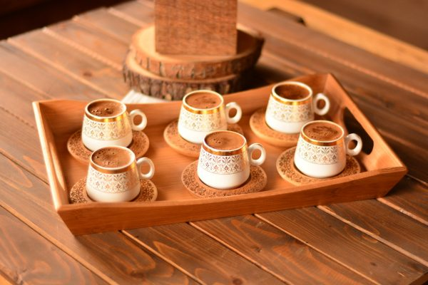 Bamboo Ottoman-Espresso Cups Set For Six Person With Tray