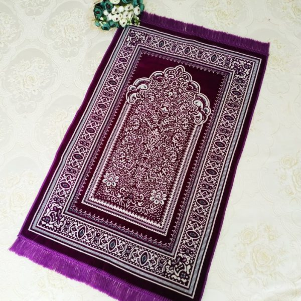 Pink Color Velvet Muslim Turkish Prayer Mat Sajjadah