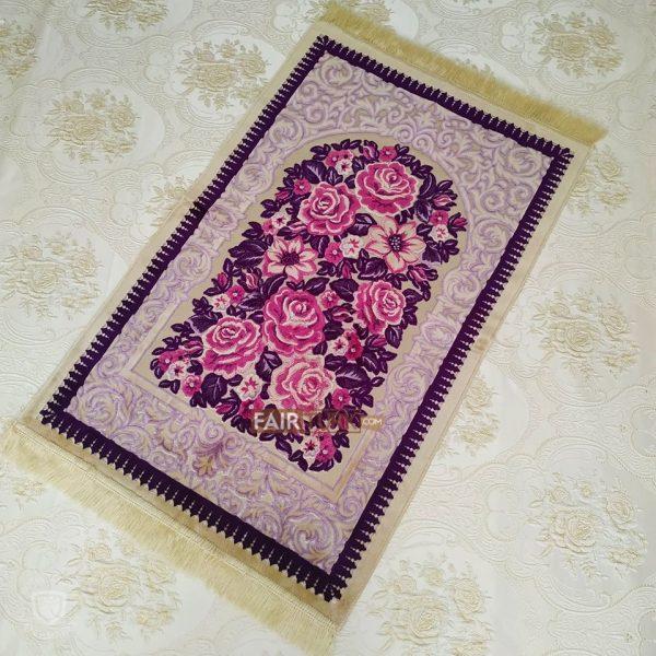 Pink Roses Design Soft Plush Prayer Mat