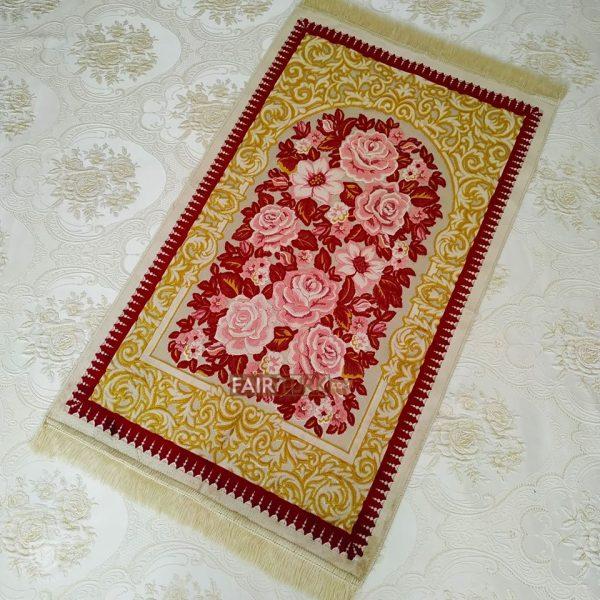 Red Roses Design Soft Plush Prayer Mat